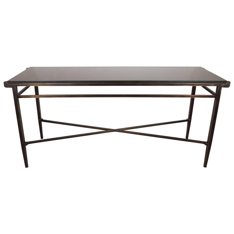 Modernist X-Form Hand Rubbed Bronze Console Table with Black Granite Top —  High Style Deco