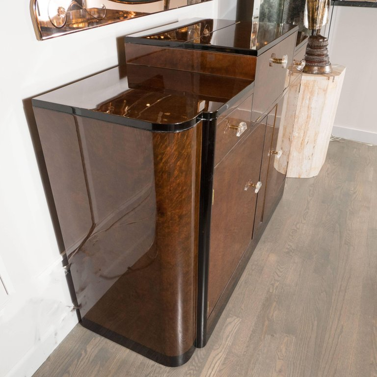 Copy Of Streamlined Art Deco Bar/Cabinet In Book Matched Elm With Plexi  Pulls