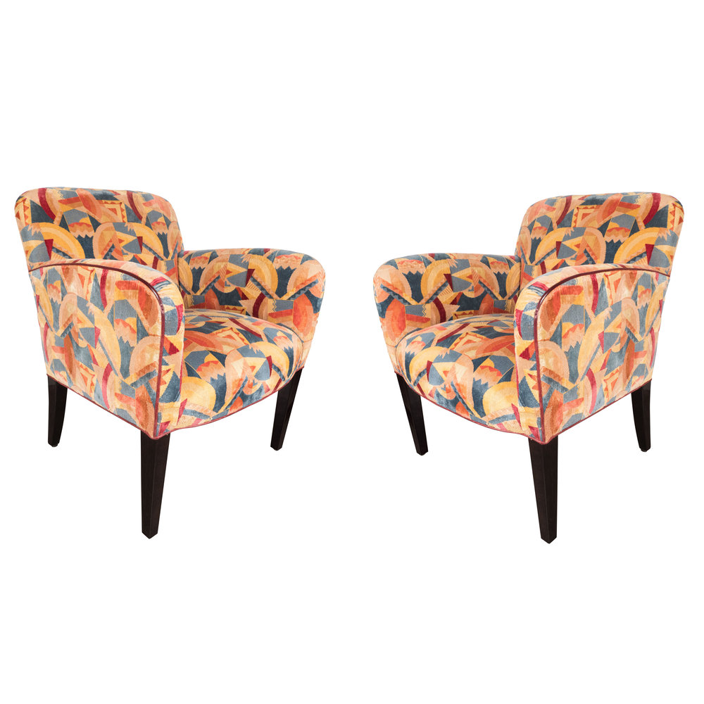 Pair Of Donghia Arm Chairs In Vibrant Cubist Fabric By Clarence House