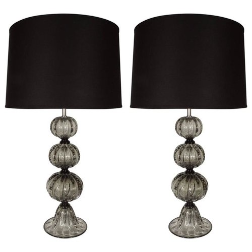 Elegant pair of handblown smoked pewter murano glass table lamps elegant pair of handblown smoked pewter murano glass table lamps mozeypictures Image collections
