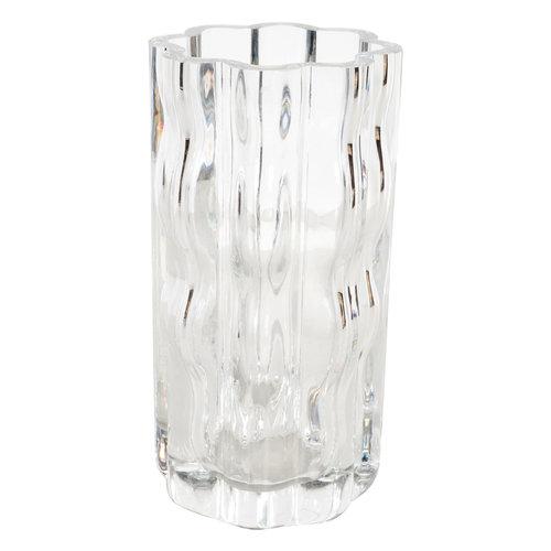 Swedish Mid Century Modern Translucent Handblown Rippled Glass Vase