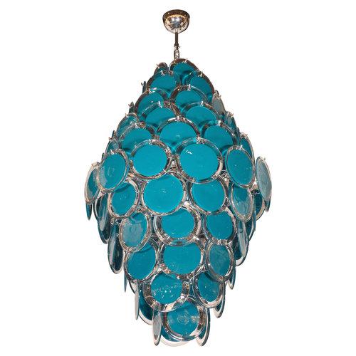 Modernist chrome murano vistosi chandelier with cerulean blue and modernist chrome murano vistosi chandelier with cerulean blue and clear discs aloadofball Images