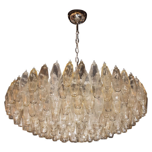 Modernist murano polyhedral venini chandelier w nickel fittings in modernist murano polyhedral venini chandelier w nickel fittings in smoked topaz aloadofball Images