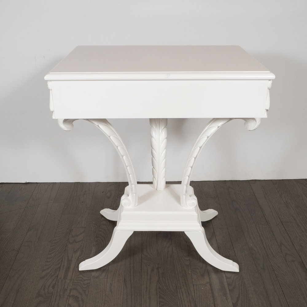 Pair Of Hollywood Regency Grosfeld House White Lacquer End Tables/  Nightstands