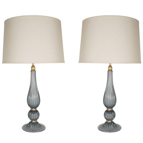 Pair of handblown modernist murano table lamps in gray glass w pair of handblown modernist murano table lamps in gray glass w 24k gold flecks aloadofball Image collections