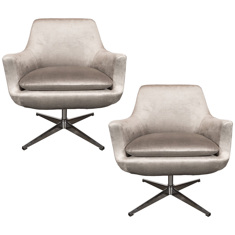 Pair Of Mid Century Modern Chrome U0026 Smoked Pewter Velvet Swivel Chairs
