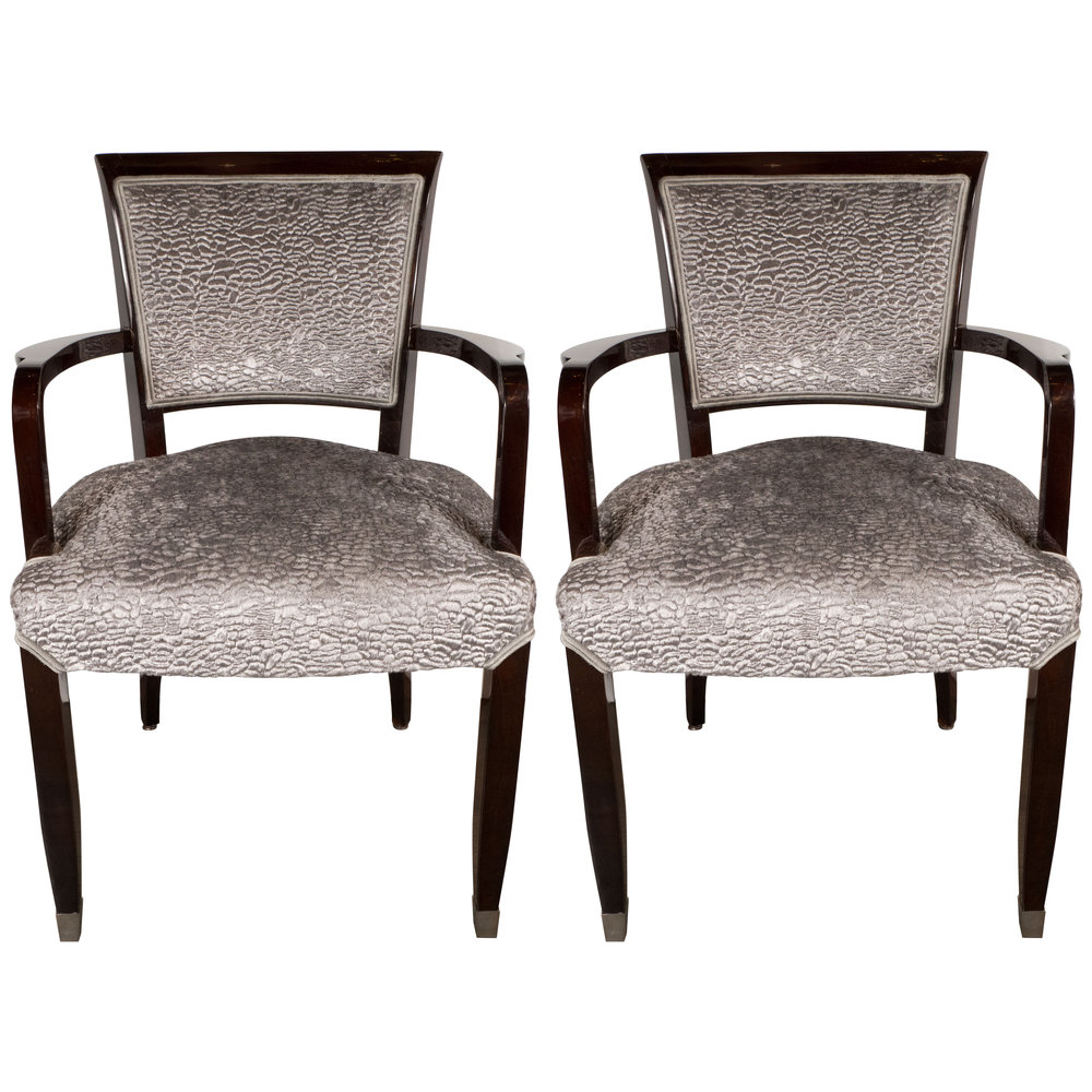 Pair Of French Art Deco Arm Chairs In Mahogany By Jules Leleu