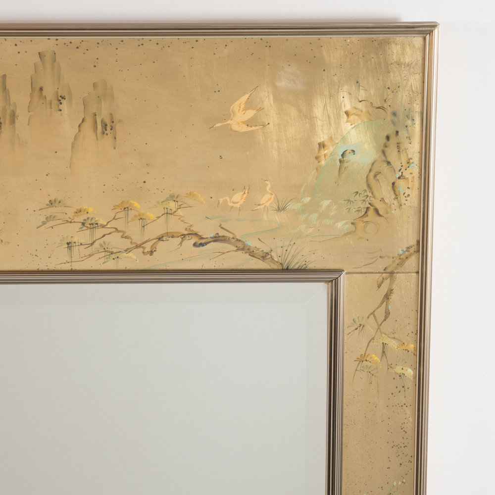 Mid Century Modern La Barge Reverse Hand-Painted Glass Chinoiserie ...