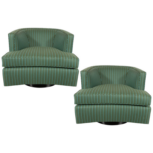 Pair Of Mid Century Modern Swivel Chairs By Harvey Probber High