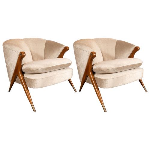 Mid Century Modern Lounge Chairs In Walnut Brass Champagne Velvet
