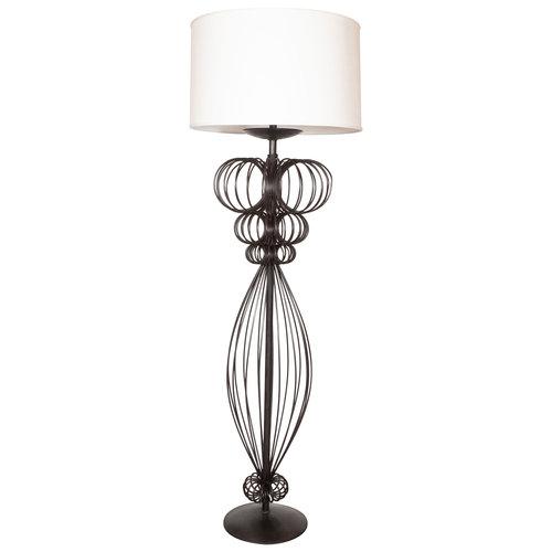 Mid Century Modern Sculptural Black Iron Floor Lamp High Style Deco