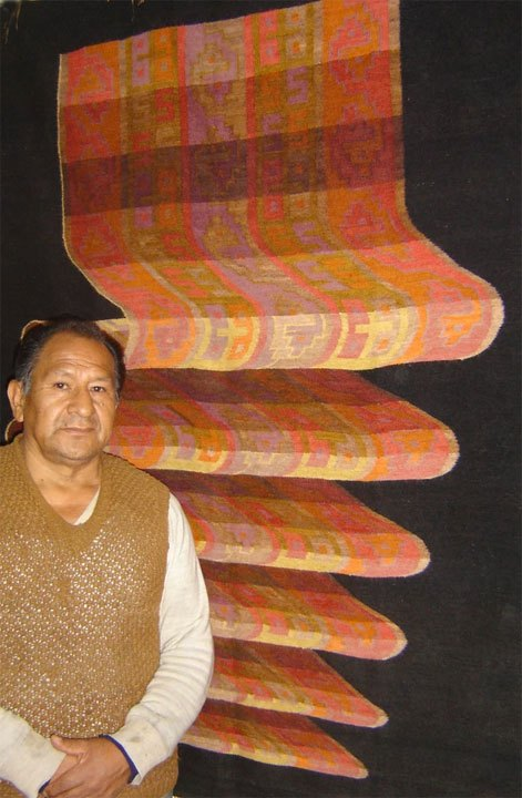 Alfonso Sulca, one of the most prominent Ayacucho weavers; in his gallery, 2006.