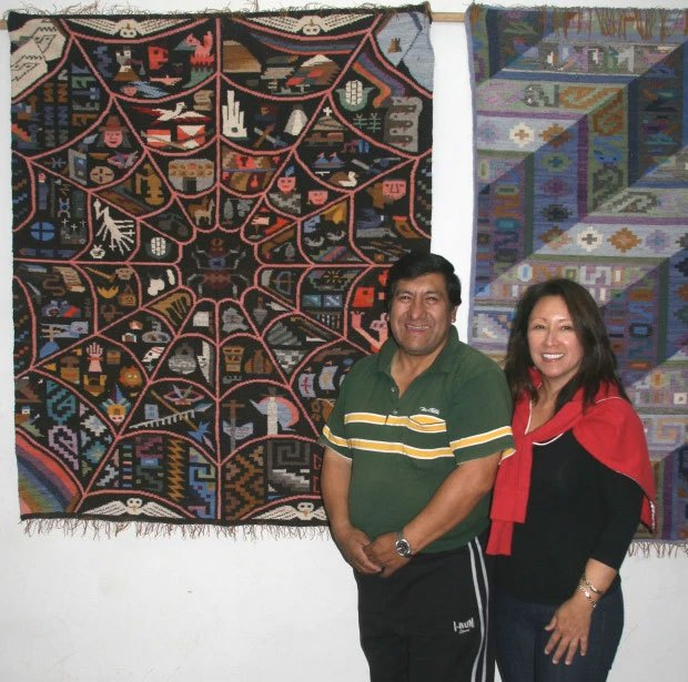 Edwin Sulca with a customer from Hawaii in his gallery, 2008.