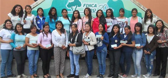 FINCA Scholarship students – 10 are supported by our funding. National director Ines Lanao Flores on right