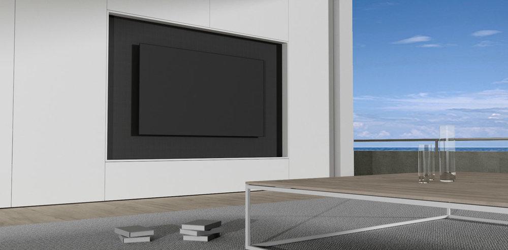 TV module geïntegreerd in de kastenwand. Het paneel waaraan de kast hangt is een deur bespannen met luidsprekerdoek.