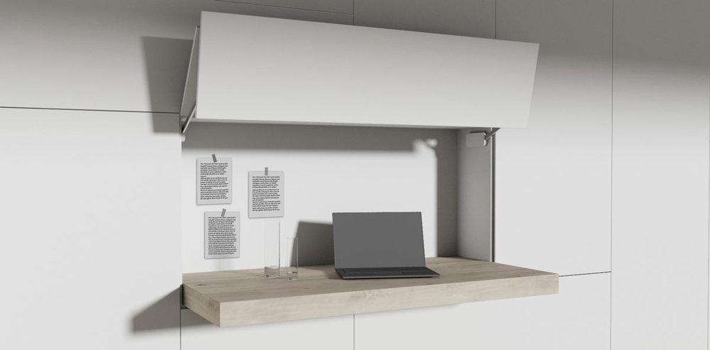 Met een sierlijke zwaai naar boven openen de vleugeldeuren van de bureaumodule, vervolgens schuift het bureau naar voren en u kunt aan de slag. (Het afgebeelde bureau is 180cm breed en 90cm diep.)