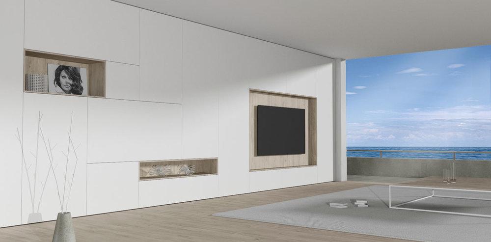 Afbeelding van een kamer ingericht met een inbouw kastenwand op maat.