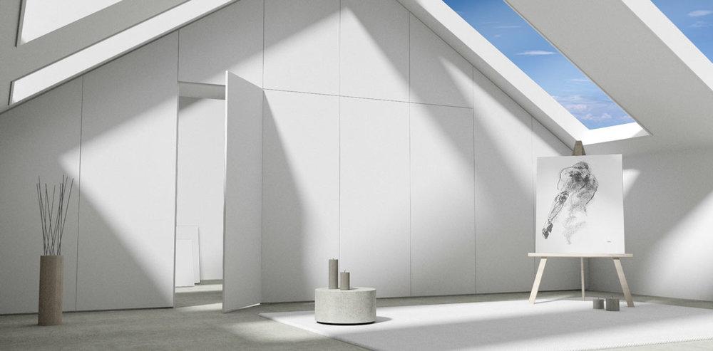 De kast op maat onder het schuine dak deelt de zolderkamer in tweeën en creëert een enorme hoeveelheid kastruimte.