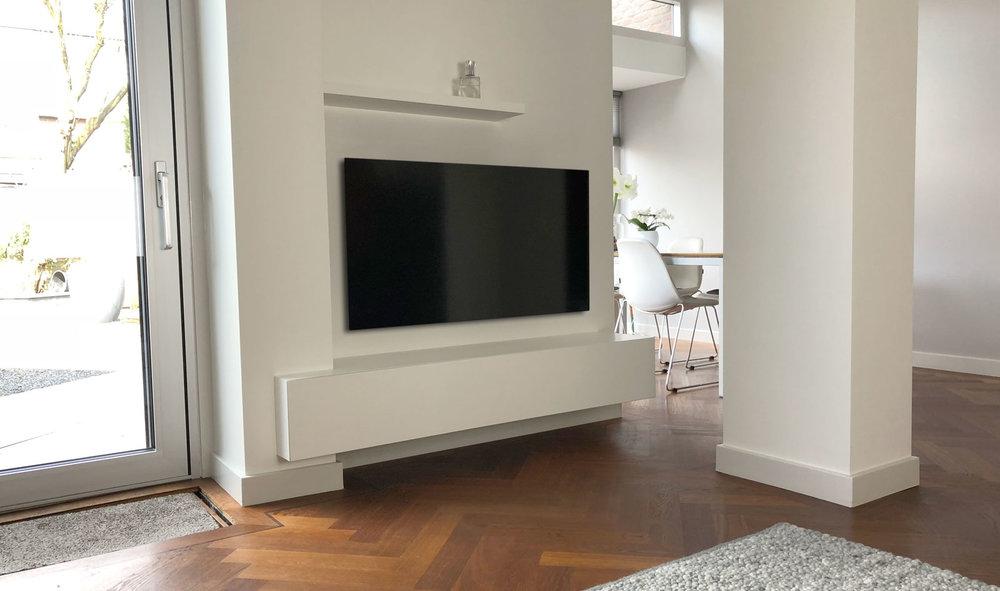 Tv meubel in een uitdagende hoek u design meubels op maat