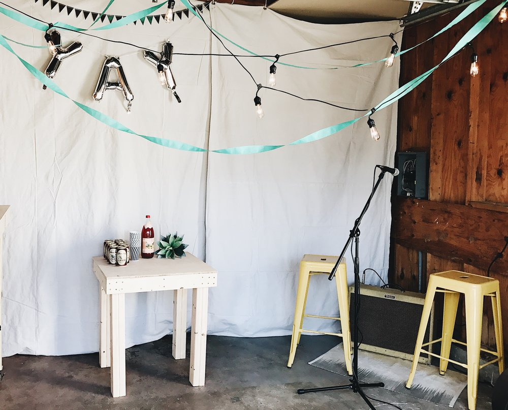 Here's my simple set up if your party is a little bigger and you need to boost the sound!