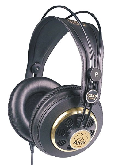 AKG K240 STUDIO Semi-Open Studio Headphones - Ok I read a lot of reviews on headphones before I bought these and I'm so glad I ended up purchasing them. They are really classic and great quality headphones (awesome sound and comfy!). I have a quarter inch adapter for mine too so I can plug it right into the interface I have (shown below). Because they are semi-open, you can still hear through them a little (so not noise cancelling). For vocal stuff, you can hear the click come through them a little and it's picked up in the mic. For guitar recording though, they have been perfect!