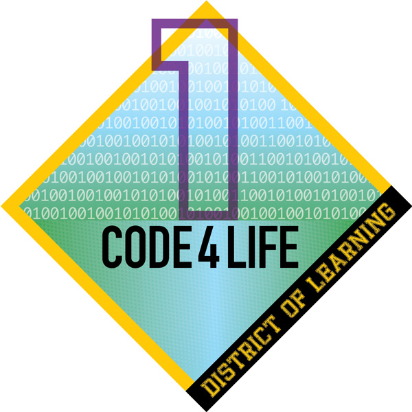 This is an example of the digital badge a student receives for the successful completion of a module of Code4Life.