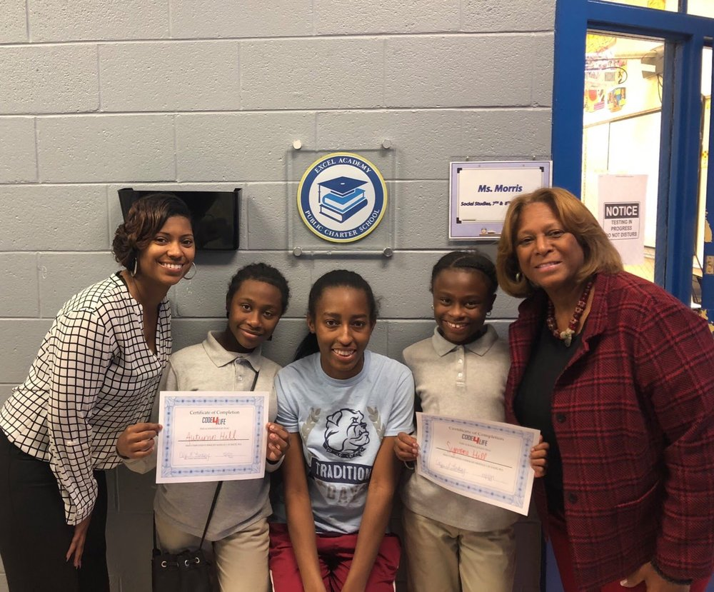 Winners of the Code4Life competition at DC's Excel Academy.