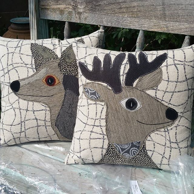 Two more pillows completed! #handmade #farmersmarket #homedecor #repurposed #wildlife #smallbusiness #loyalbird #applique #upholsteryfabric #animaldecor #western #cabinlife