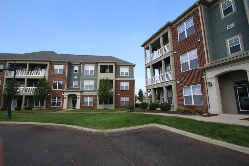 Apartments in Fishers The District two buildings.JPG