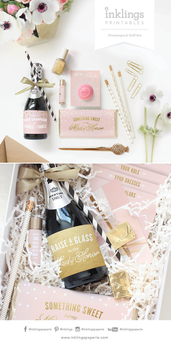 Inklings Paperie Bridesmaid Box Printables . $25 for 10 printables.