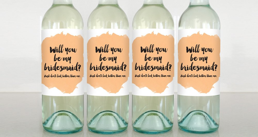 Delicate Estates Bridesmaid Wine Labels . $6 each or $20 for a 4-pack