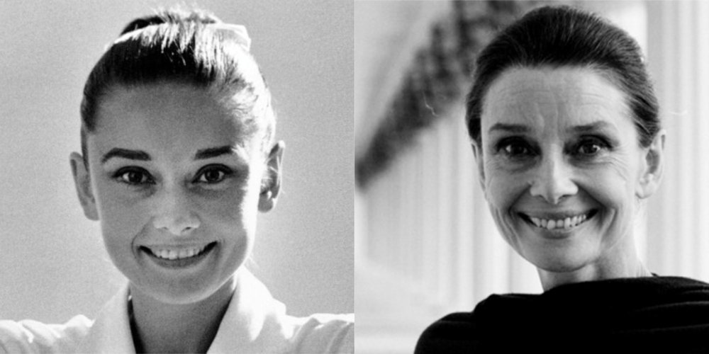 Audrey Hepburn fotografiada por Inge Morath durante la producción de The Unforgiven, Durango, Mexico, en 1959 y por John Cogi después de un viaje como embajadora de Unicef a Etiopía, en 1988.  Fuente: rareaudreyhepburn.com.