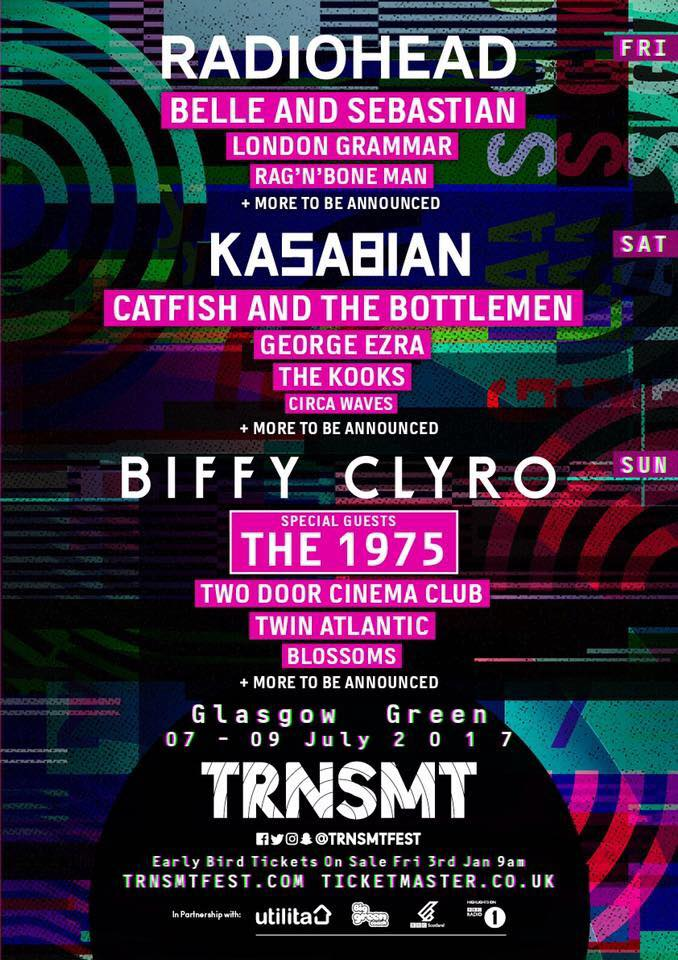 TRNSMT replaces T in the Park and takes place from 7-9 July in Glasgow, Scotland