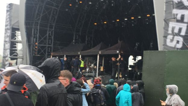 Y NOT? FESTIVAL 2017 - Gazebos were put up when rain threatened to flood the stage  PICTURE BY: BBC NEWS