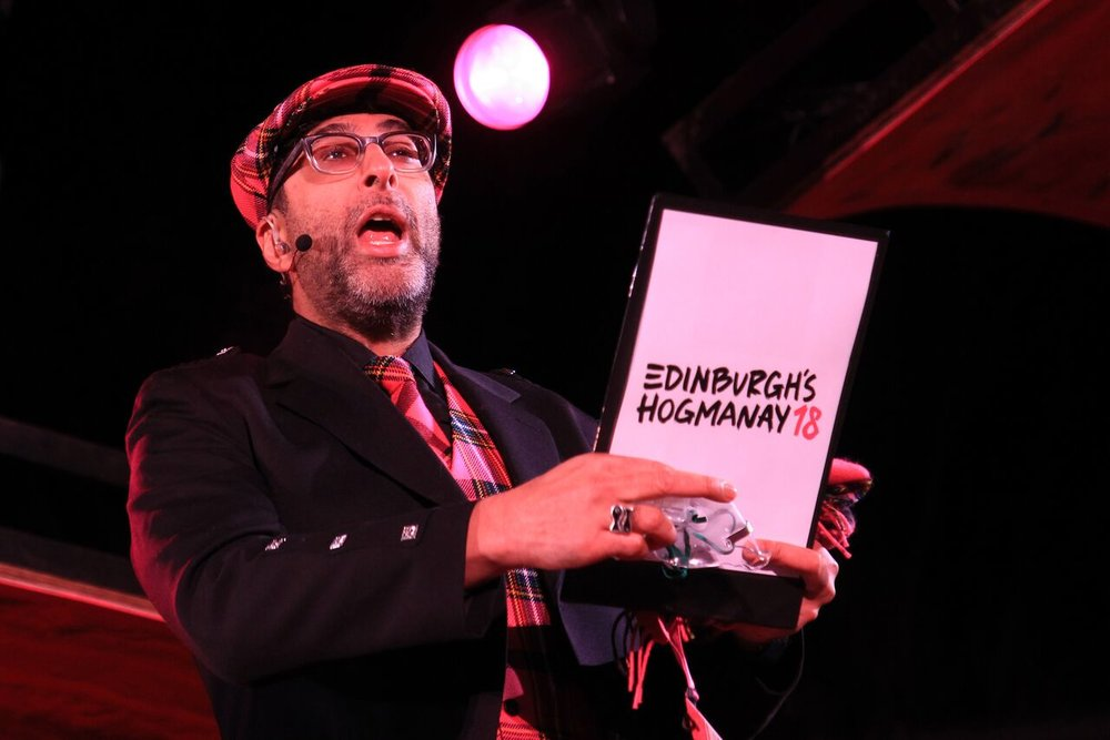 SANJEEV KOHLI SPEAKING TO THE CROWD AT EDINBURGH'S HOGMANAY STREET PARTY ON PRINCES STREET  PICTURE BY: STUART ATWOOD PHOTOGRAPHY