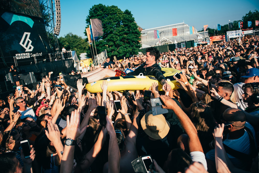 DANNY O'DONOGHUE OF THE SCRIPT CROWD SURFING AT TRNSMT 2018 - 29.06.2018  PICTURE BY: TENTU