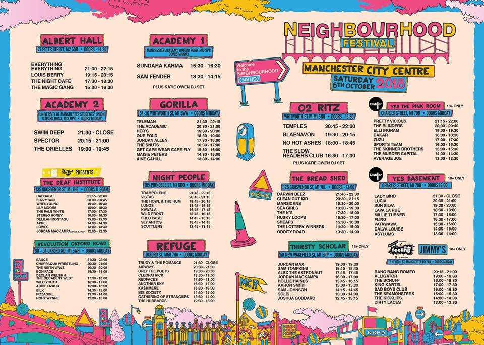 MANCHESTER'S NEIGHBOURHOOD FESTIVAL 2018 - FULL LINE UP, VENUES AND STAGE TIMES