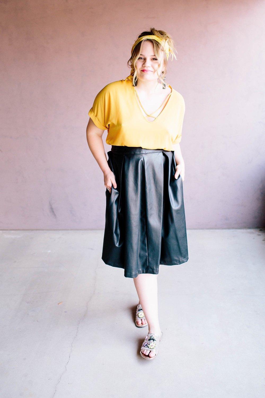 Skirt  |  Shoes  |  Earrings  |  Top