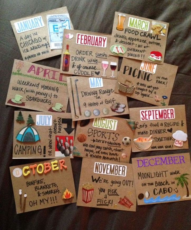 Traditional First Anniversary Paper Gift Ideas - A Year of Date Night Cards