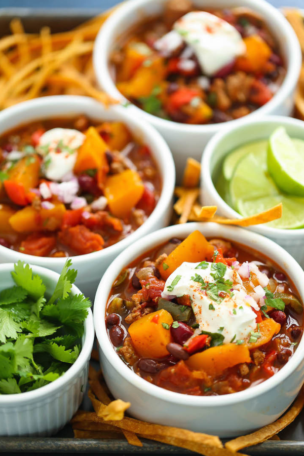 Slow Cooker Butternut Squash Chili - From Damn DeliciousWhy You Should Make It: A delicious chili loaded with seasonal vegetables is about the most fall thing you can eat.
