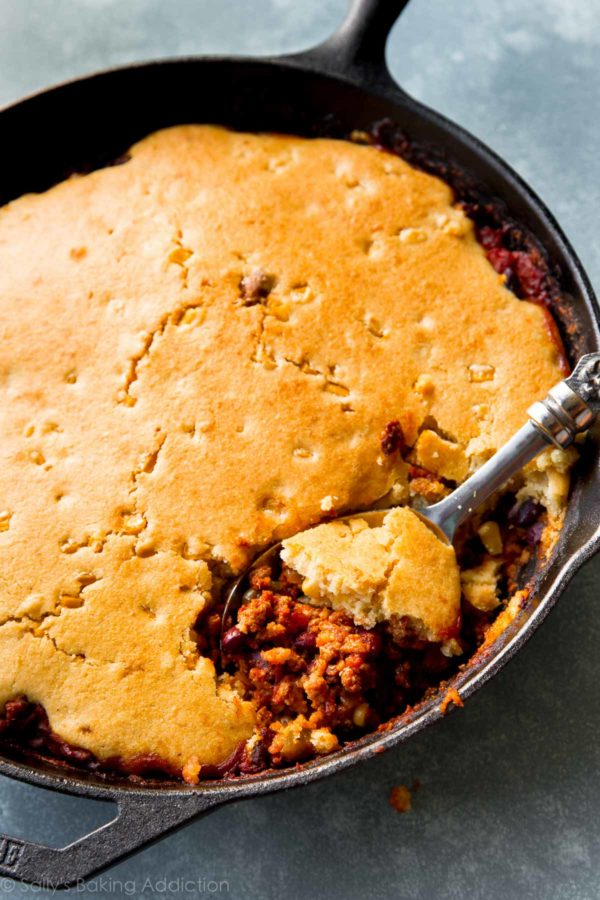 Cornbread Topped Skillet Chili - From Sally's Baking AddictionWhy You Should Make It: Cornbread and chili belong together and we all know it. Why not combine them from the start?