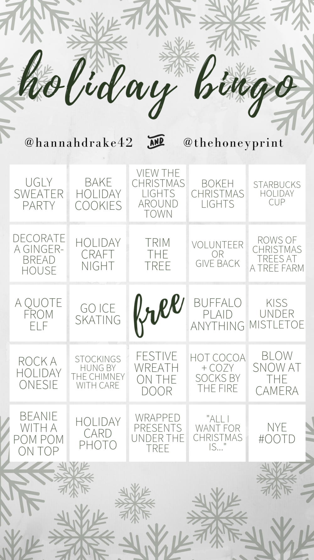 Holiday Bingo with @hannahdrake42 and @thehoneyprint
