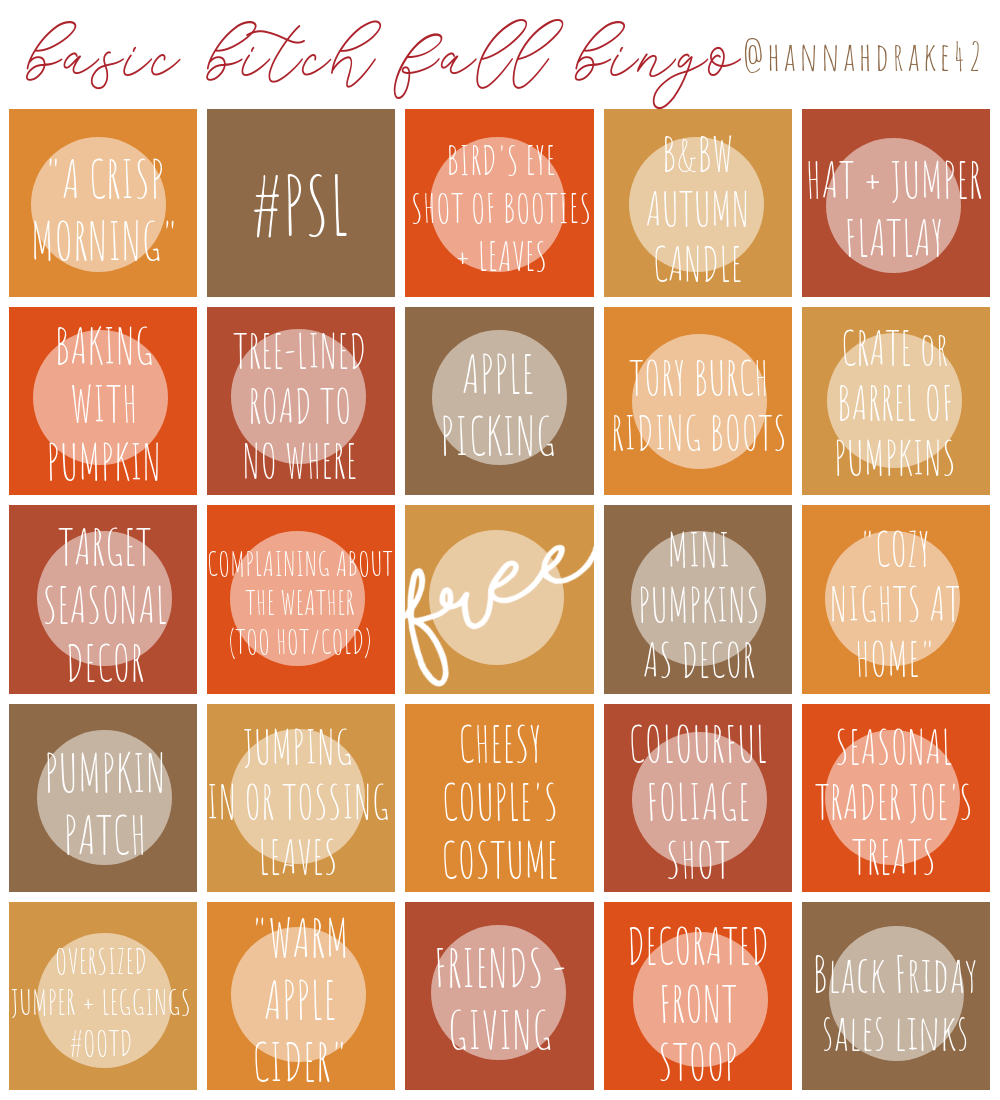 Basic Bitch Fall Bingo