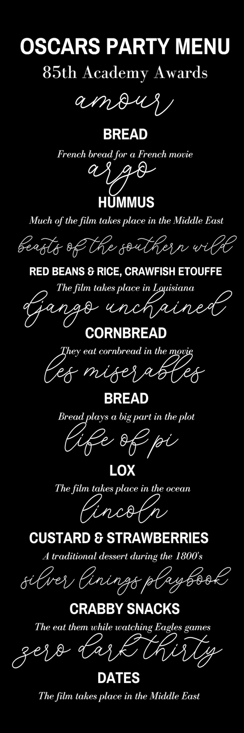 Oscars Party Menu