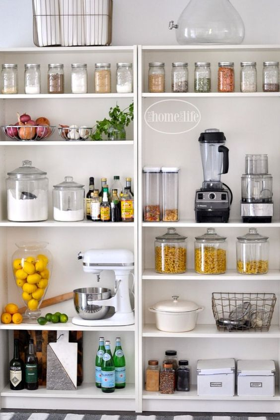 - This definitely feels like the ultimate pantry to me. I love the mix of glass jars (and I assume plastic containers) to hold different things. Especially the lemons! Our pantry will probably end up looking something like this because we need more space to keep our appliances like our mixer, blender, food processor, etc. and even some of our bigger crockery.