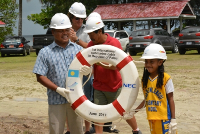 Shania handed the buoy to Vice President Raynold B Oilouch