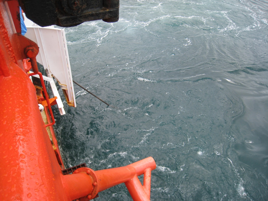 Cable entry 'angle' constantly monitored at stern chute throughout the lay operation