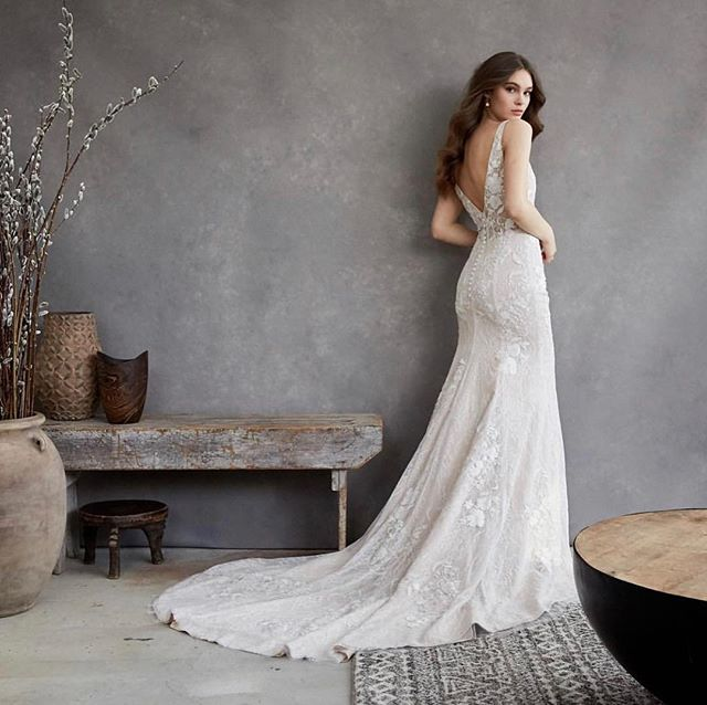 Easily one of our favorite gowns right now. AND we can get this beauty in time for your summer or fall '19 wedding! ✨. . . . . #fallwedding #tiadorabridal #lowback #sheerback #embroideredlace #longtrain #fittoflare #photography #backdrop