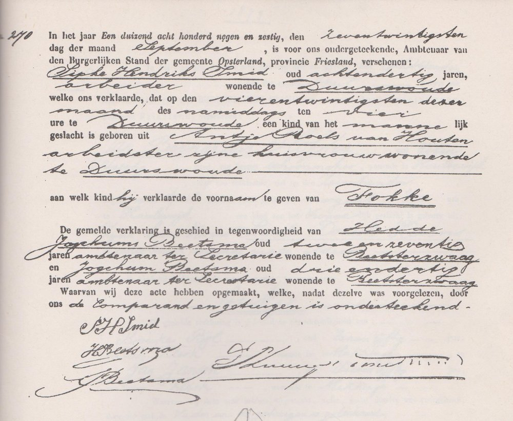 Copy of birth certificate of FOKKE SMID my grandfather