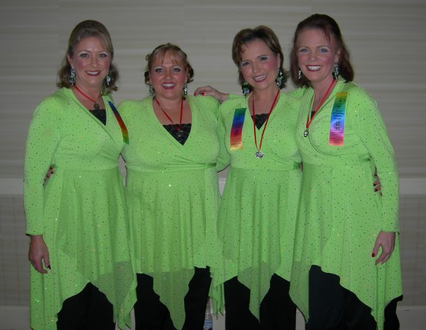 Leigh, Bonnie, Roxanne and Debbie after winning the silver medal at Sweet Adeline's International 2009